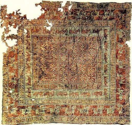 Oldest known hand-knotted rug, the Pazyryk carpet.